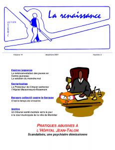 La Renaissance - Décembre 2007 - volume 14 numéro 3.