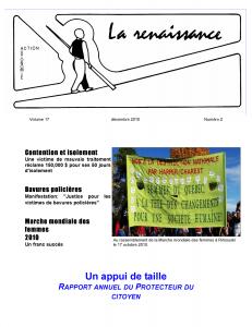 La Renaissance - Décembre 2010 - volume 17 numéro 2.